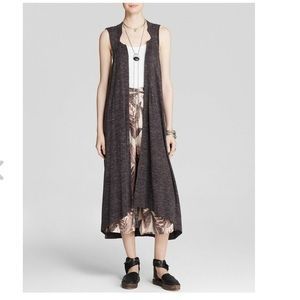 Free People Longline Sleeveless Duster Charcol